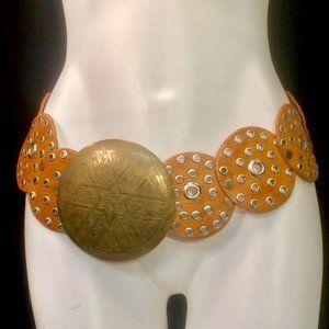 Moroccan Tan Leather Brass Wide Belt